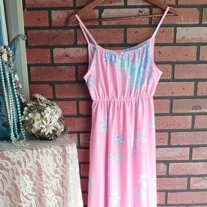 Vintage 1980s Pastel Pink Maxi Dress
